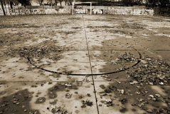 Dead zone. Melancholic sports court after a rain Royalty Free Stock Images