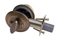 Deadbolt Cannon. Assembly of Dead Bolt Lock. Clipping Path included stock images
