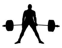 Deadlift masculin d'exercice de powerlifter Images libres de droits