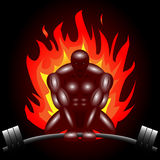 Deadlifter on Fire. Silhouette of a man on fire doing the deadlift. Vector file available Royalty Free Stock Images