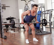 Deadlifts with a barbell Stock Photos