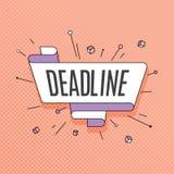 deadline Ретро элемент дизайна в стиле искусства шипучки на цвете полутонового изображения иллюстрация штока