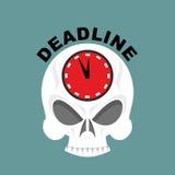 deadline Череп с часами достаточно не приурочивают Illustrati вектора бесплатная иллюстрация