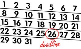 Deadline. Waiting on the calendar Stock Photo