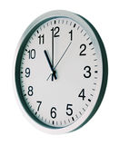Deadline. On the white wall clocks (isolated Stock Image