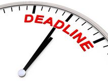 Deadline. As Letters on a Clock Stock Photos