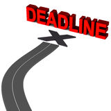 Deadline. Road leading to deadline, work efficiency of time concept, project and process deadlines Royalty Free Stock Image