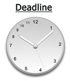 Deadline. The idea of a clock showing the deadline Stock Photos