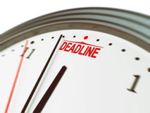 Deadline. Clock shows deadline is near! And you must hurry up Stock Images