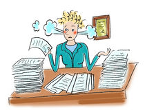 Deadline. The woman the secretary, not in time to make the work and consequently it has steam from ears Royalty Free Stock Photo