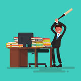 Deadline. Angry worker breaks the desk littered with documents. Vector illustration of a flat design Royalty Free Stock Images