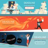 Deadline banners. Workload office managers work burnout in rush overload business personal directors vector cartoon. Characters. Deadline office employee royalty free illustration