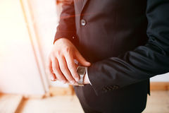 Deadline, Businessman looking at watch, investor, Time management, Boss costume or suit, Corporate man dress, No face, Delaying th Royalty Free Stock Photography