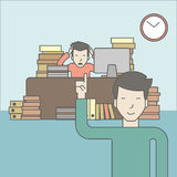 Deadline. Businessman sitting at workplace in office and looking at boss pointing at clock. Deadline concept. Vector line design illustration. Square layout Royalty Free Stock Images