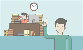 Deadline. Businessman sitting at workplace in office and looking at boss pointing at clock. Deadline concept. Vector line design illustration. Horizontal layout Stock Photo