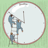 Deadline. Businessmen prevent the deadline through a change in the position of arrows on the clock. Color version Royalty Free Stock Images