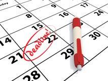 Deadline on a calendar stock illustration