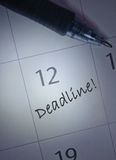 Deadline calendar entry Royalty Free Stock Photo