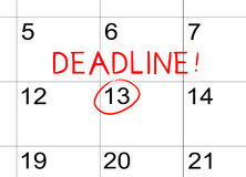 Deadline on the calendar Royalty Free Stock Photos