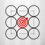 Deadline Concept. Abstract Clocks with Target and Dart Arrow. 3d. Deadline Concept. Abstract Clocks with Target and Dart Arrow extreme closeup. 3d Rendering Royalty Free Stock Photo