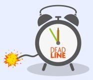 Deadline concept with blasting fuse on classic alarm clock. Vector illustration stock illustration