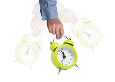 Deadline concept. Close up of swaying alarm clock  as deadline concept Stock Image