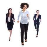 Deadline concept - front view of running business women isolated. On white background Royalty Free Stock Photography