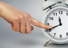 Deadline and pause concept, hand stop time on classic clock royalty free stock images