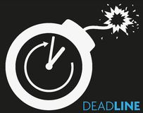 Deadline concept icon with clock and blazing fuse. Vector illustration royalty free illustration
