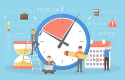 Deadline concept. Idea of many work and few time. Employee in a hurry. Panic and stress. Flat vector illustration vector illustration