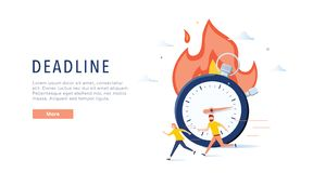 Deadline concept illustration, perfect for web design, banner, mobile app, landing page, vector flat design. Business abstract time is money poster. Concept royalty free illustration