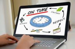 Deadline concept on a laptop screen. Hands on a laptop with screen showing deadline concept Stock Photos