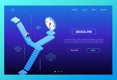 Deadline concept - modern isometric vector website header. On purple background with copy space for text. Web banner with businessman, male manager running down stock illustration