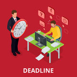 Deadline Concept of overworked man. Flat 3d vector isometric illustration. Deadline Concept of overworked man. Flat 3d vector isometric illustration Stock Photo
