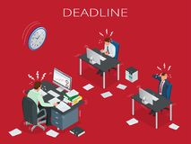 Deadline Concept of overworked man Time to work. Deadline Concept of overworked man Time to work Time management project plan schedule Sand clock Flat 3d Royalty Free Stock Photos