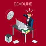 Deadline Concept of overworked man Time to work Time management project plan schedule Sand clock Flat 3d vector. Isometric illustration Stock Photos