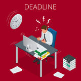 Deadline Concept of overworked man Time to work Time management project plan schedule Sand clock Flat 3d vector. Isometric illustration Stock Image