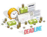 Deadline concept, table Clock and Calendar with cash money stack. S and paper Contract isolated on white background. Isometric vector business and finance stock illustration