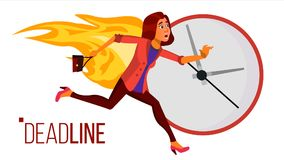 Deadline Concept Vector. Stressed Office People. Running Business Woman On Fire. Time Management. Struggling With. Deadline Concept Vector. Lack Of Time. Mess Royalty Free Stock Images