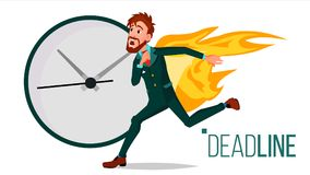 Deadline Concept Vector. Businessman On Fire. Project Managers Work Related Stress. Tasks Time Limits Problem. Burnout. Deadline Concept Vector. Sad Running vector illustration
