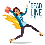 Deadline Concept Vector. Lack Of Time. Mess And Deadline Tasks. Stress In Office. Running Business Woman On Fire. Deadline Concept Vector. Stressed Office People Stock Image
