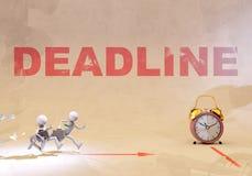 Deadline, 3d rendering. Businessmen runnig after deadline, 3d rendering Royalty Free Stock Photos
