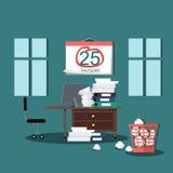 Deadline Design Concept Flat Interior Man Royalty Free Stock Image