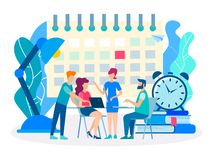 Deadline, discussion of business plans. Teamwork at the office table meeting concept. Deadline, discussion of business plans stock illustration