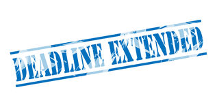 Deadline extended blue stamp. Isolated on white background Royalty Free Stock Photos