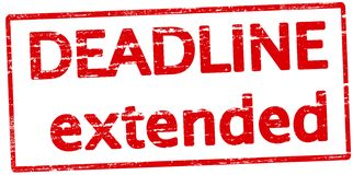 Deadline extended. Rubber stamp with text deadline extended inside,  illustration Stock Photo