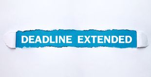 Deadline Extended text on torn paper royalty free stock photo