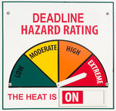 Deadline Extreme Hazard. A sign indicating that the current deadline hazard rating is extreme and the heat is on royalty free stock photos
