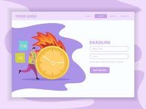 Deadline Flat Landing Web Page vector illustration