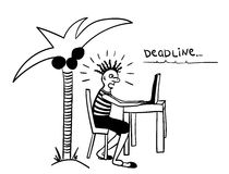 Deadline from freelancers  comic  illustration Stock Images